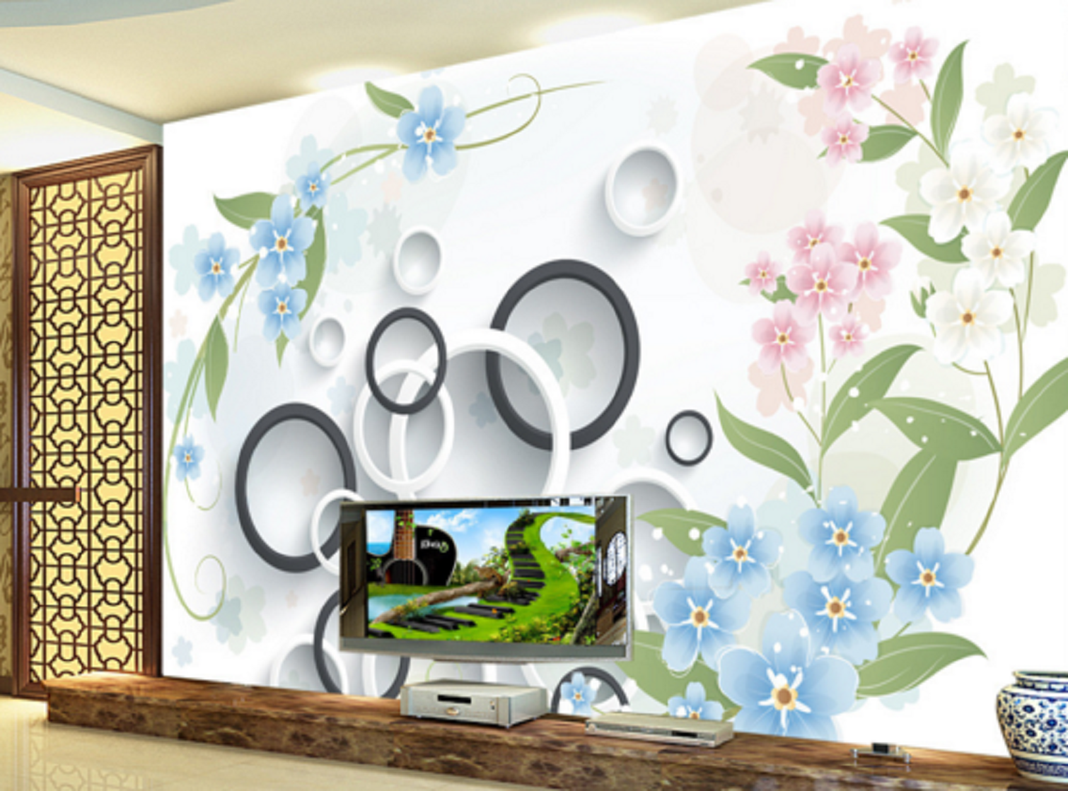 3D Blütenblätter Runder Kreise 56 Tapeten Mauer Foto Familie Tapete Wandgemälde