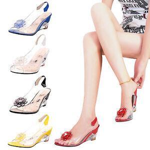 Women-girls-Transparent-sandals-jelly-beach-shoes-flower-decor-wedge-footwear