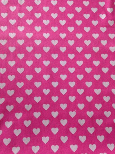 Michael Miller Hearts All Over material fabric white on pink fat quarters CX5920