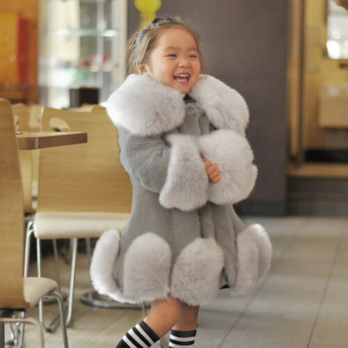 Baby Kids Child Girl Winter Warm Faux Fur Outwear Party Jacket Parka Trench Coat