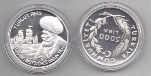 TURKEY SILVER PROOF 5000 LIRA COIN 1985 YEAR KM#976 TURKISH NAVY MINTAGE 1,000
