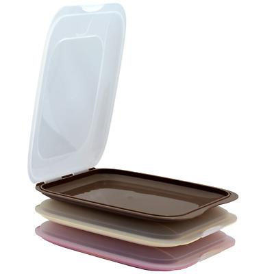 3xBraun Beige Rosa stapelbare Aufschnittbox Frischhaltedose Wurst Aufschnittdose