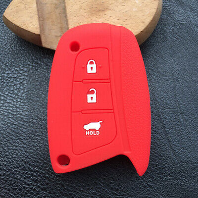 Red 4 Buttons Silicone Smart Key Fob Cover Skin fit for HYUNDAI Santa Fe ix45
