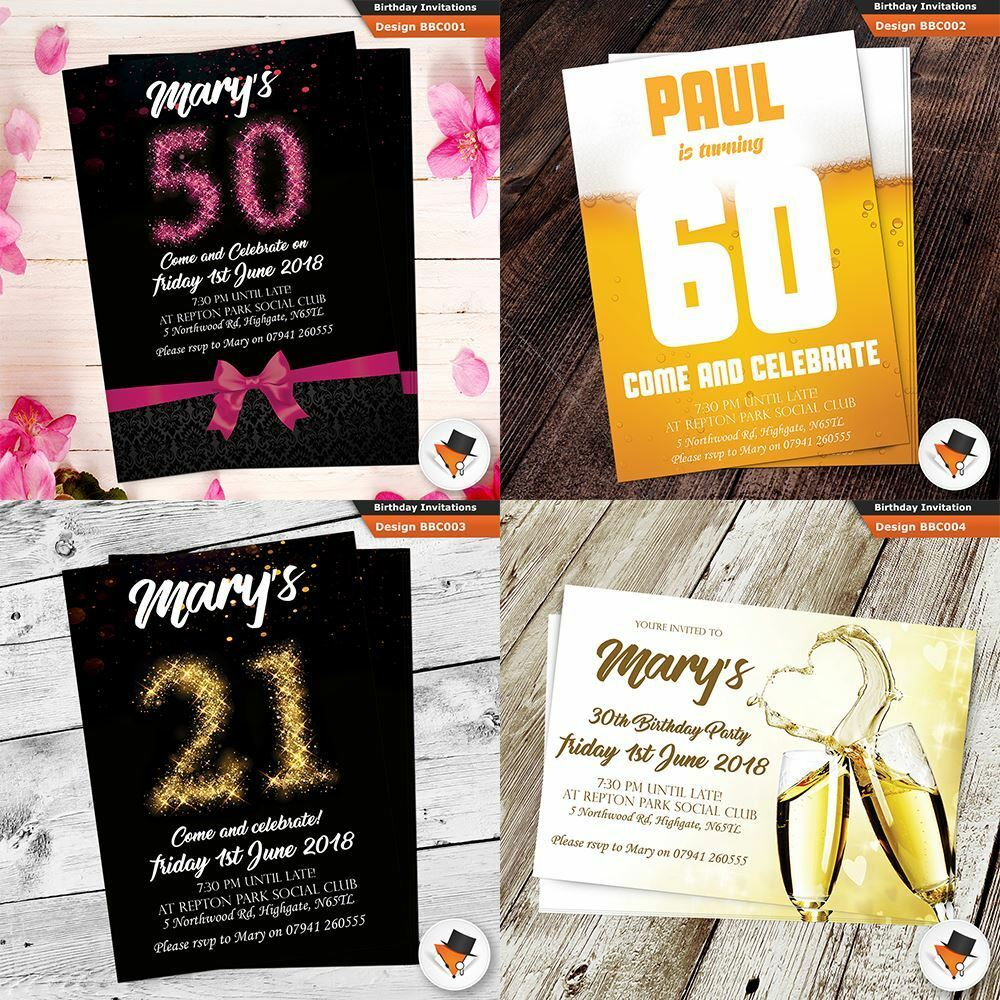 Personalised Drinks Birthday Invitations Invites Envs For Men 18th 21st 30th 9e1ef6