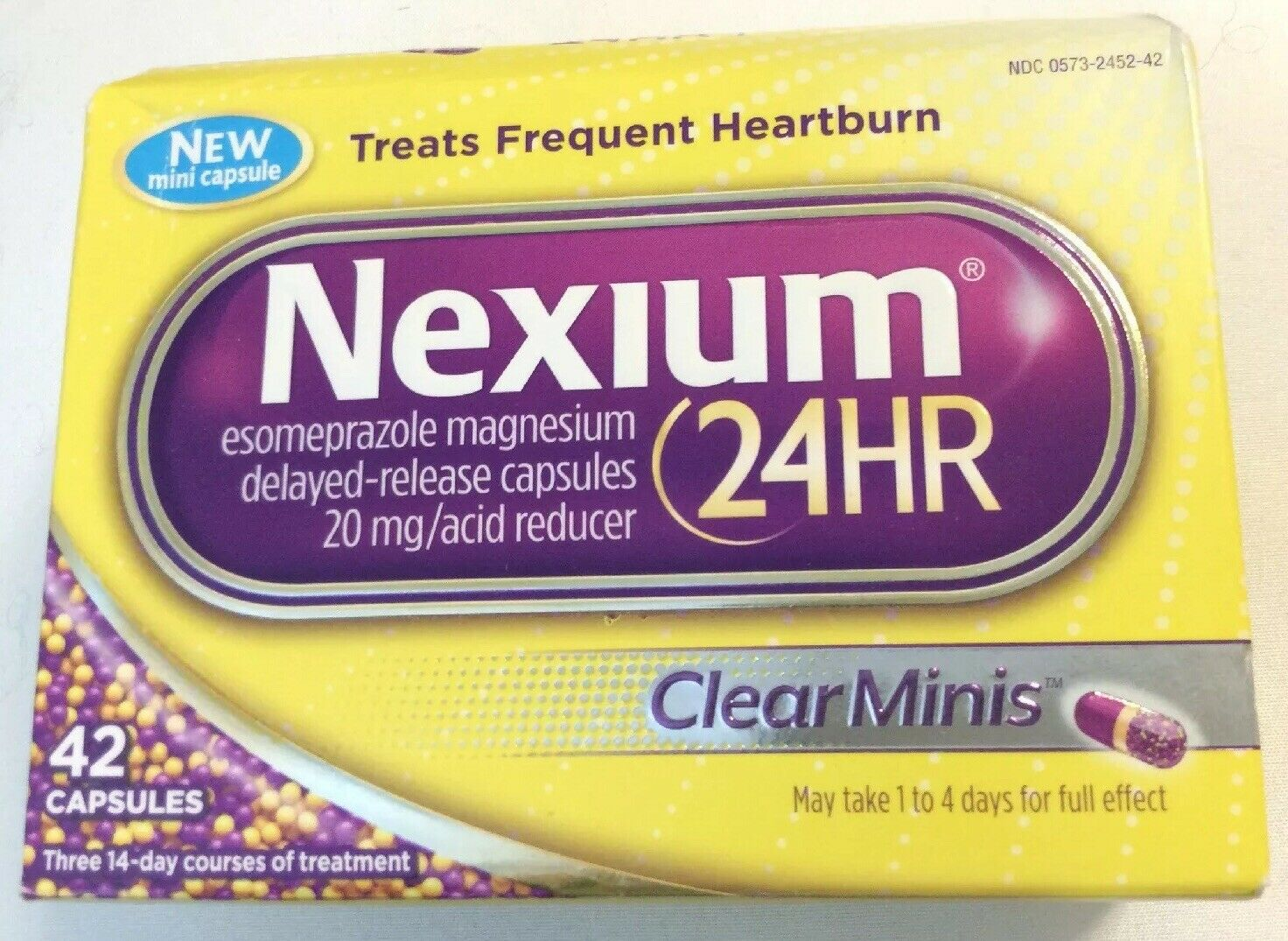 Nexium 24HR Clear Minis 42 Capsules Treats Frequent Heartburn Exp:9/2022 Or Bett 1