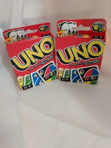 UNO Card Game Age 7 2 sets Family Fun Customizable Wild Card