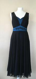 Hobbs-schwarz-Seide-Chiffon-Kleid-Blau-Satin-Unterrock-Damen-UK-10