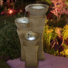 Outdoor Water Fountain LED Lighted Tiered Waterfall w/ Pump Garden Yard Decor