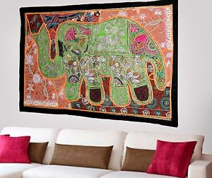 HANDMADE-ELEPHANT-BOHEMIAN-PATCHWORK-WALL-HANGING-EMBROIDERED-TAPESTRY-INDIA-X61