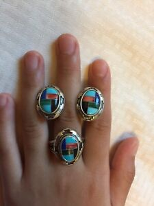 Vtg-N-A-Zuni-Sterling-Silver-Turquoise-Coral-Inlay-Ring-Earrings-Set-Free-Ship