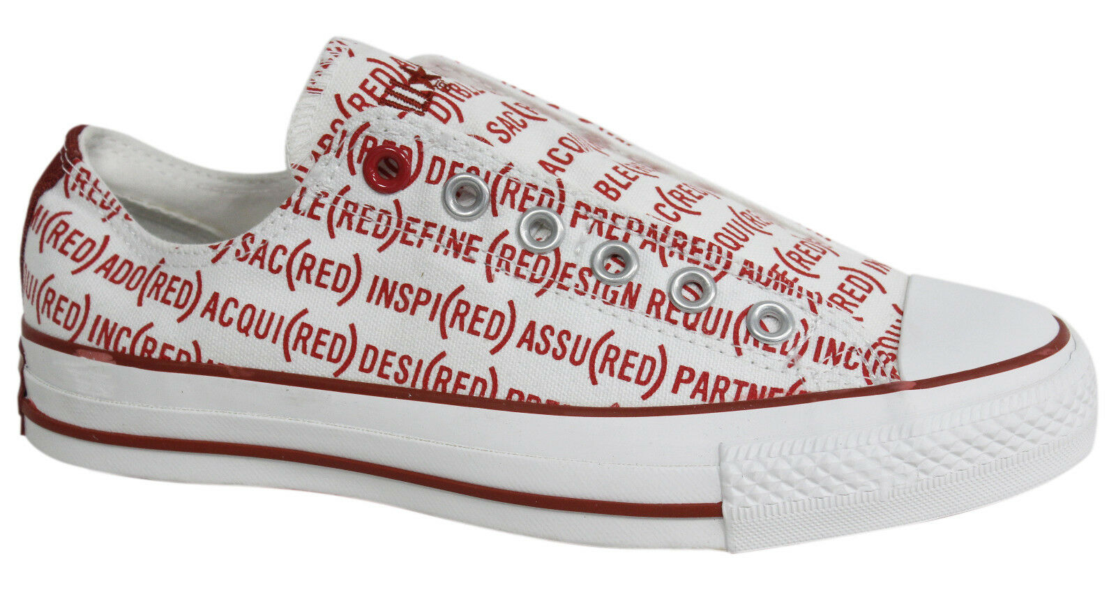 Converse Rouge All Star Chuck Taylor Slip On Baskets Homme Rouge Blanc 100690 U51