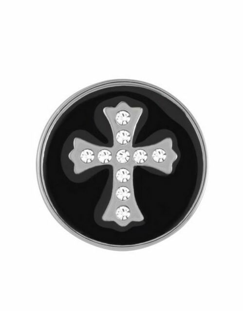 GINGER SNAPS™ BLACK SNAP STONE CROSS Jewelry - BUY 4, GET 5TH $6.95 SNAP FREE