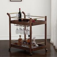 I Love Living Wood Bar Cart With Built-in Wine Rack Chestnut Finish