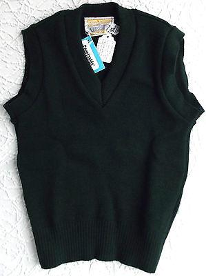 Di Carattere Dolce Vintage School Uniform Boys Sleeveless Jumper Bottle Green 1970s Unused Slipover