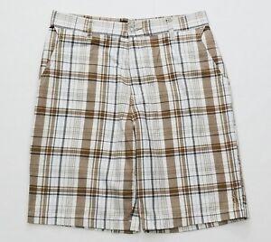 Split-Mens-White-Khaki-Black-Flat-Front-Casual-Shorts-Size-30