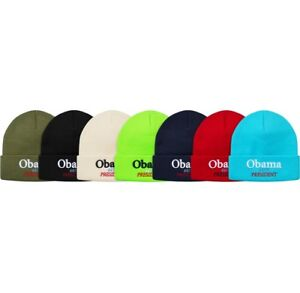 SUPREME Obama Beanie Black Bright Blue Olive box logo camp cap tnf F ... f96aaa8658c7