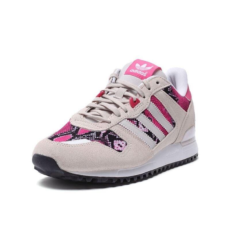 adidas ZX 700 Damenschuhe Retro Sports Trainers Beige Pink Classic Schuhes Snakeskin