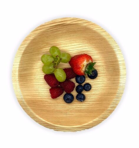 25 x Round Palm Leaf Plates 20cm Disposable Catering Eco Natural Dinner Party