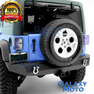 Rock-Crawler-Full-Width-Rear-Bumper-2-034-Hitch-Receiver-for-07-18-Jeep-Wrangler-JK