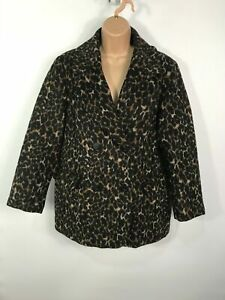 WOMENS-H-amp-M-BROWN-BLACK-BUTTON-UP-LEOPARD-PRINT-WINTER-OVERCOAT-JACKET-SIZE-UK-14