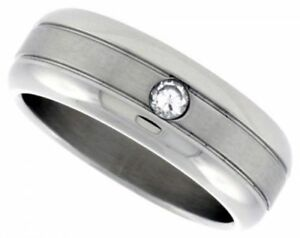 Men-039-s-Stainless-Steel-Simulated-Diamond-Size-11-Wedding-Band-8mm-Matte-Domed-C31