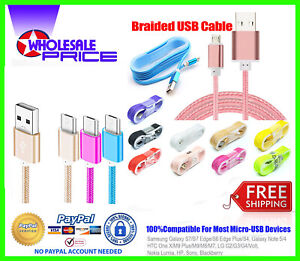 Lot of 10 Bulk 5Ft Fast Micro USB Charger Cable Cord Braided For Android Samsung