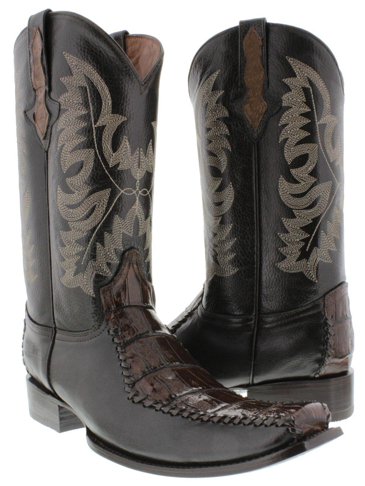 Para hombres Cuero Marrón Real Cocodrilo Moda Estilo Puntera Cuadrada Rodeo botas de vaquero