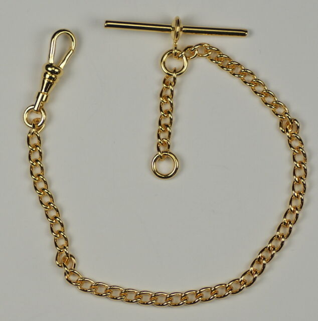 QUALITY Gold plated single albert chain pocketwatch chain fob watch T bar NEW