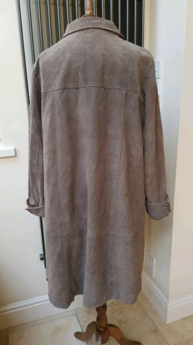 Taupe Leopard Grey Leather Coat Genuine Length Knee 100 Xl Beth Terrell Print AFRCXwwq