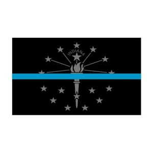 Indiana IN State Flag Thin Blue Line Police Sticker / Decal #252 Made in U.S.A.
