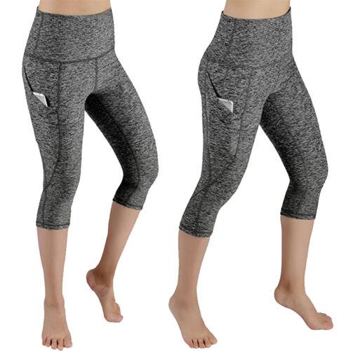 Women/'s Capri YOGA Pants Pockets Gym Sports Fitness Cropped Leggings Workout F35