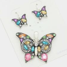 NWT SILVER CRYSTAL Pink Blue etc BUTTERFLY EARRING PENDANT NECKLACE BRIGHTON BAY