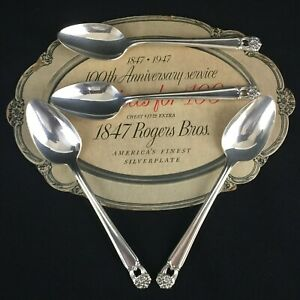 Set-of-4-VTG-Teaspoons-6-1-8-034-by-1847-Rogers-Bros-1947-ETERNALLY-YOURS