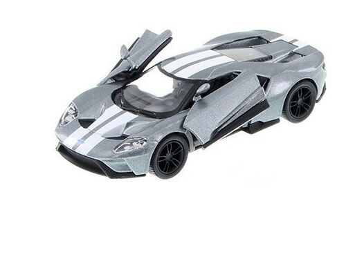 "GREY New 5/"" Kinsmart 2017 Ford GT w Stripes 1:38 Scale Diecast Model Toy Car"