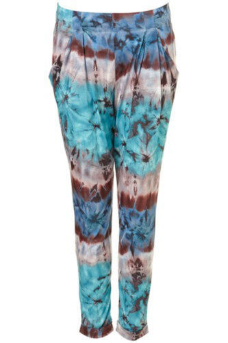 BRAND NEW LADIES TOPSHOP TIE DYE PRINT HAREM TROUSERS TAPERED PANTS SIZES 6-14