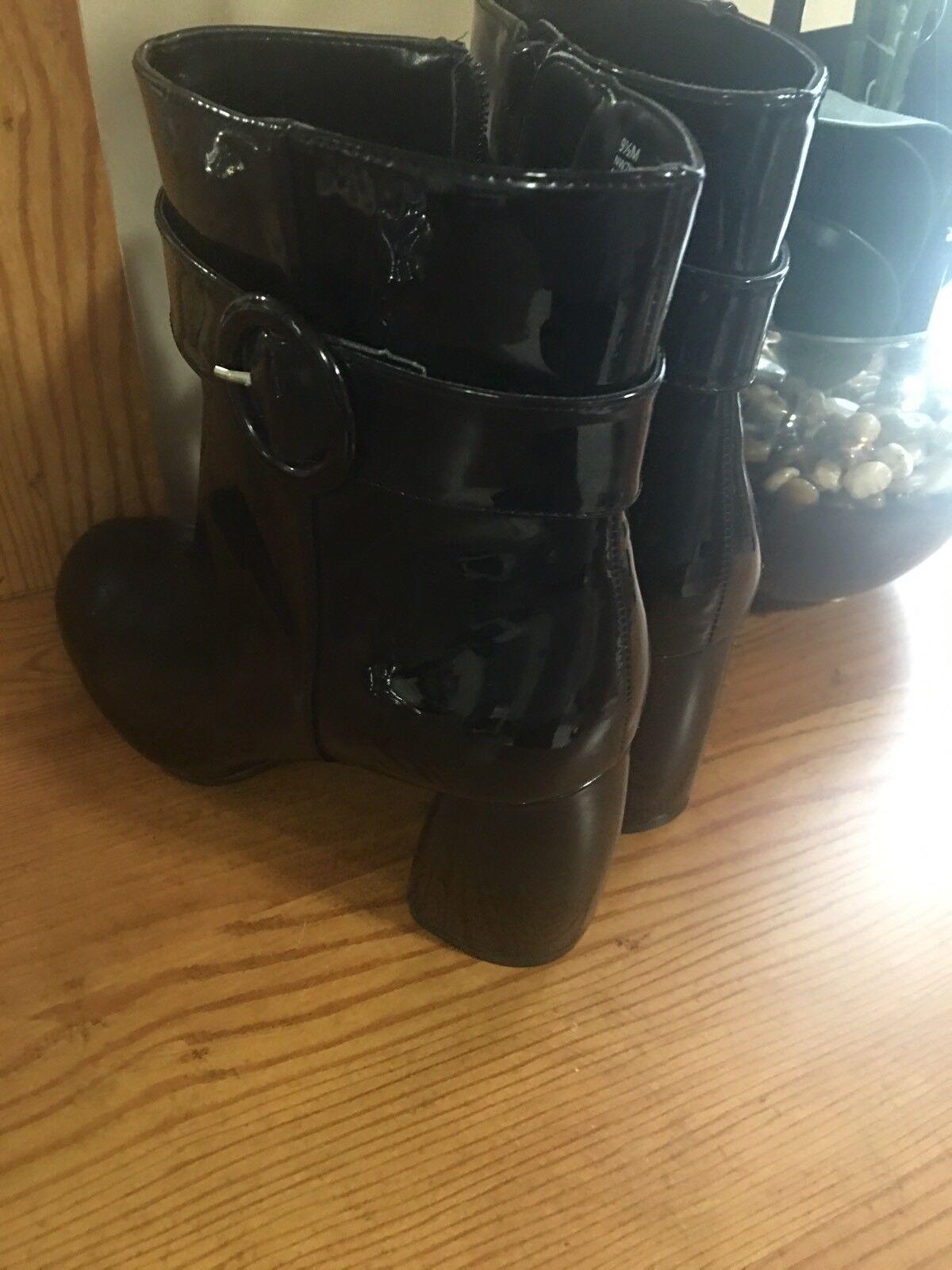 nine west femmes est kyra cuir vernis noir bottines bottines noir sz 9,5 cdae19