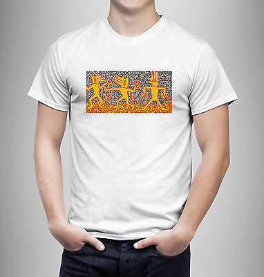 POPULAR art keith haring love LOGO Black gildan T-Shirt Size M 2XL