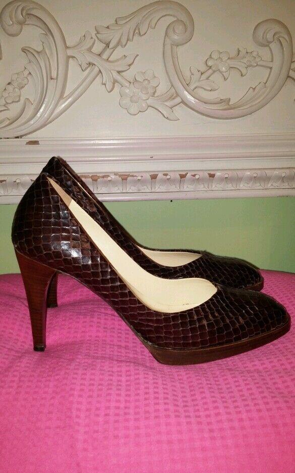 Miu Miu brown snakeskin  heels pumps sz sz sz 39.5 Pretty b617a2