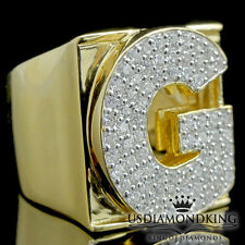 MEN'S NEW YELLOW GOLD OVER STERLING SILVER A++ CZ'S LETTER G INITIAL RING BAND