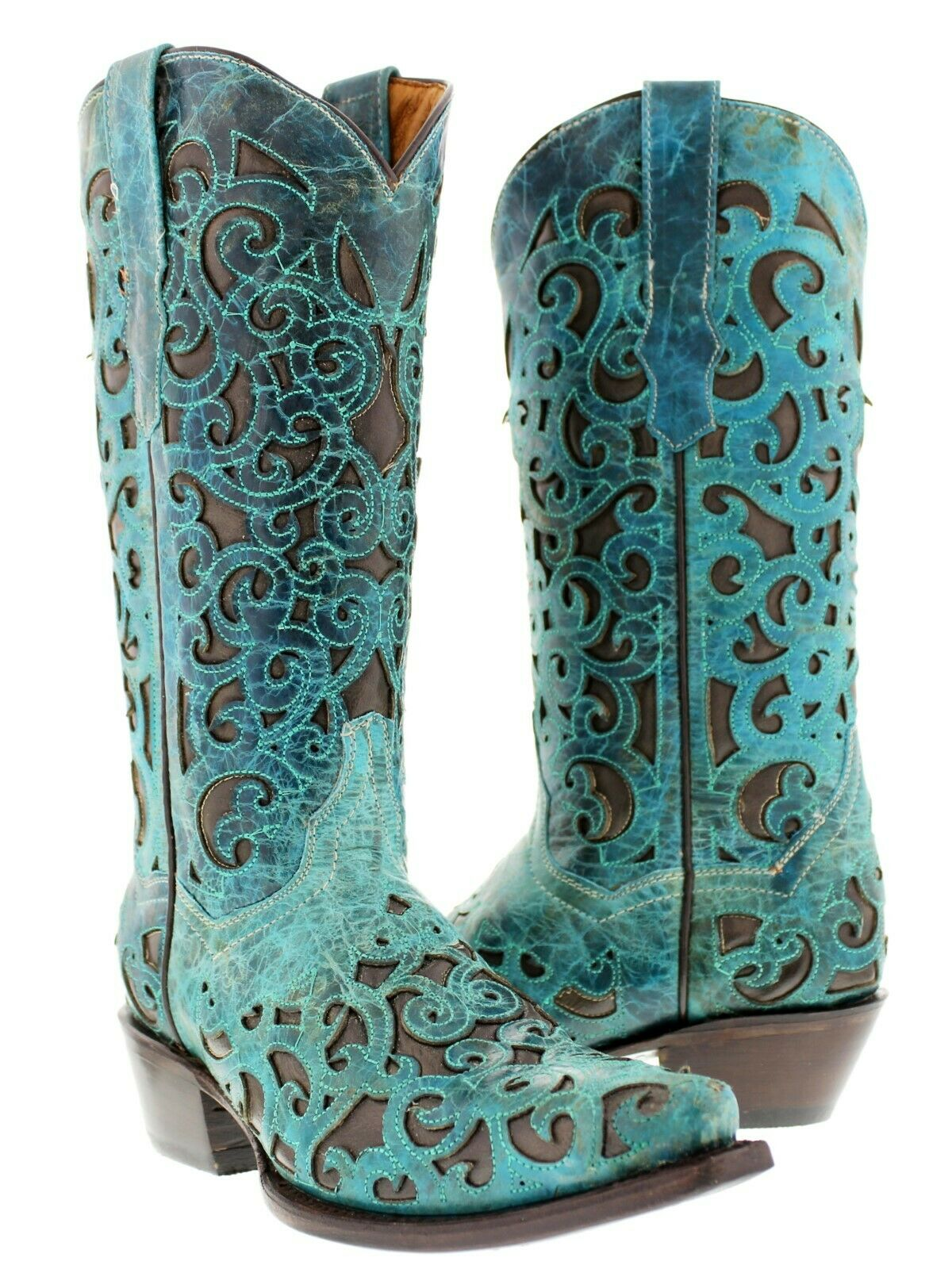 centro commerciale di moda donna Turquoise Inlay Western Cowgirl stivali Distressed Leather Marrone Snip Snip Snip Toe  negozio di vendita outlet