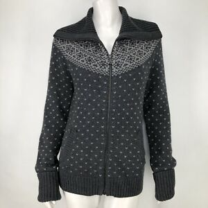 Talbots-Womens-Small-Cardigan-Sweater-Gray-Full-Zip-Shawl-Collar-Pockets-S