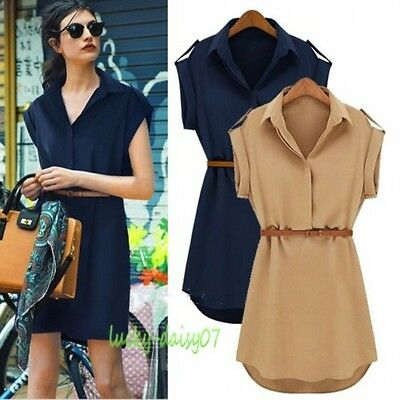 NEW 1PC Vogue Women's Cap Sleeve Stretch Chiffon Casual OL Belt Shirt Mini Dress