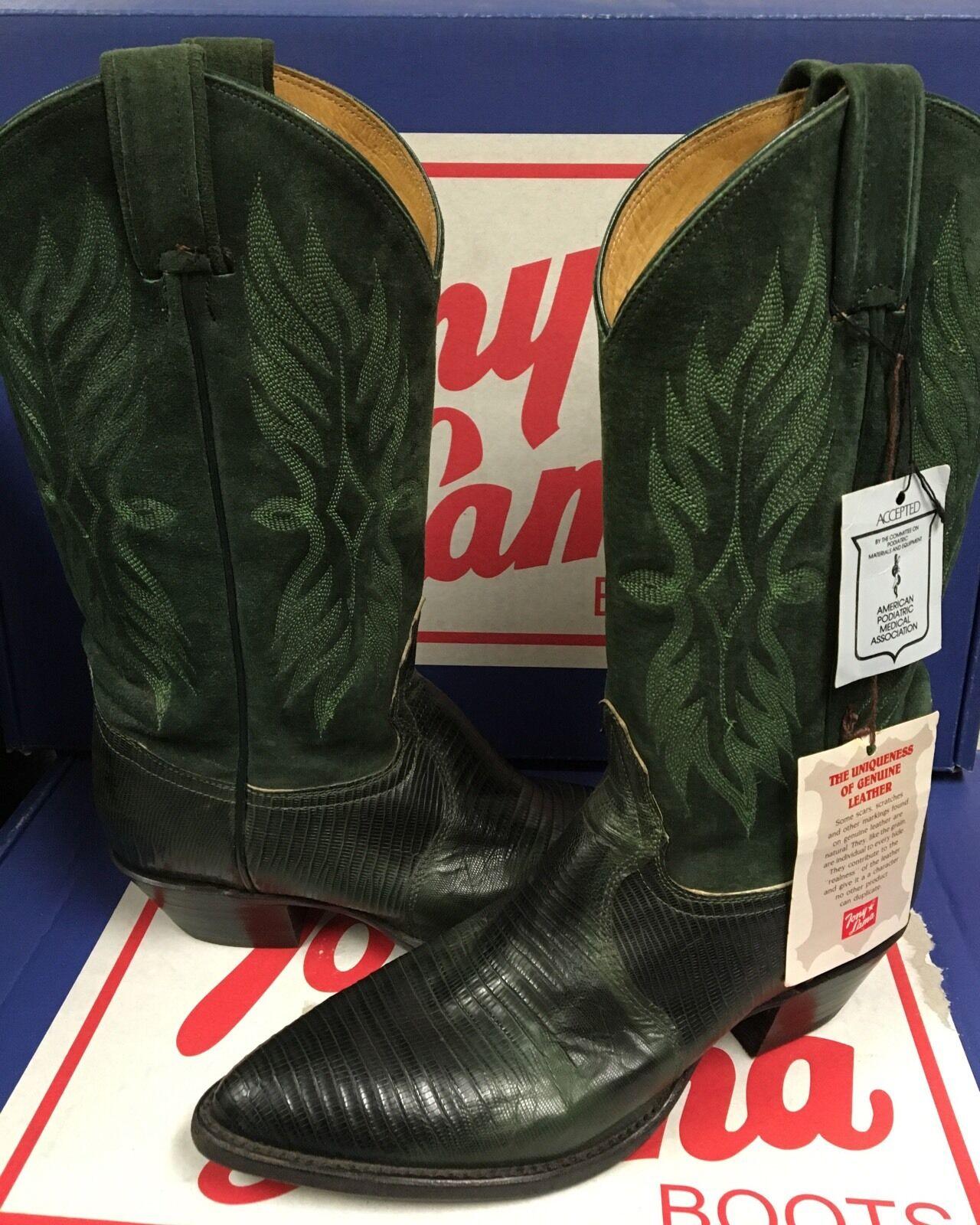 Tony Lama Women's Suede Green & lizard Leather Western boots 62012 Size 6 M New