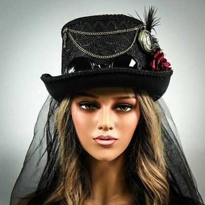 White Feathers Steampunk Top Hat Burning Man Mardi Gras Carnival Mad Hatter Tea Party Hat Headpiece Magician Top Hat Festival Accessories