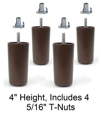 """5/"""" Universal Dark Brown Plastic Legs Sofa//Couch//Chair 5//16/"""" Set of 4 w//T-Nuts"""