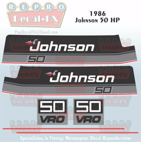 1986 Johnson 50 HP Sea-Horse Outboard Reproduction 6 Piece Marine Vinyl Decals
