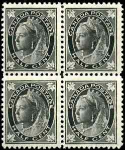 Canada-66-mint-F-VF-OG-NH-Queen-Victoria-1-2c-black-Maple-Leaf-Block-of-4