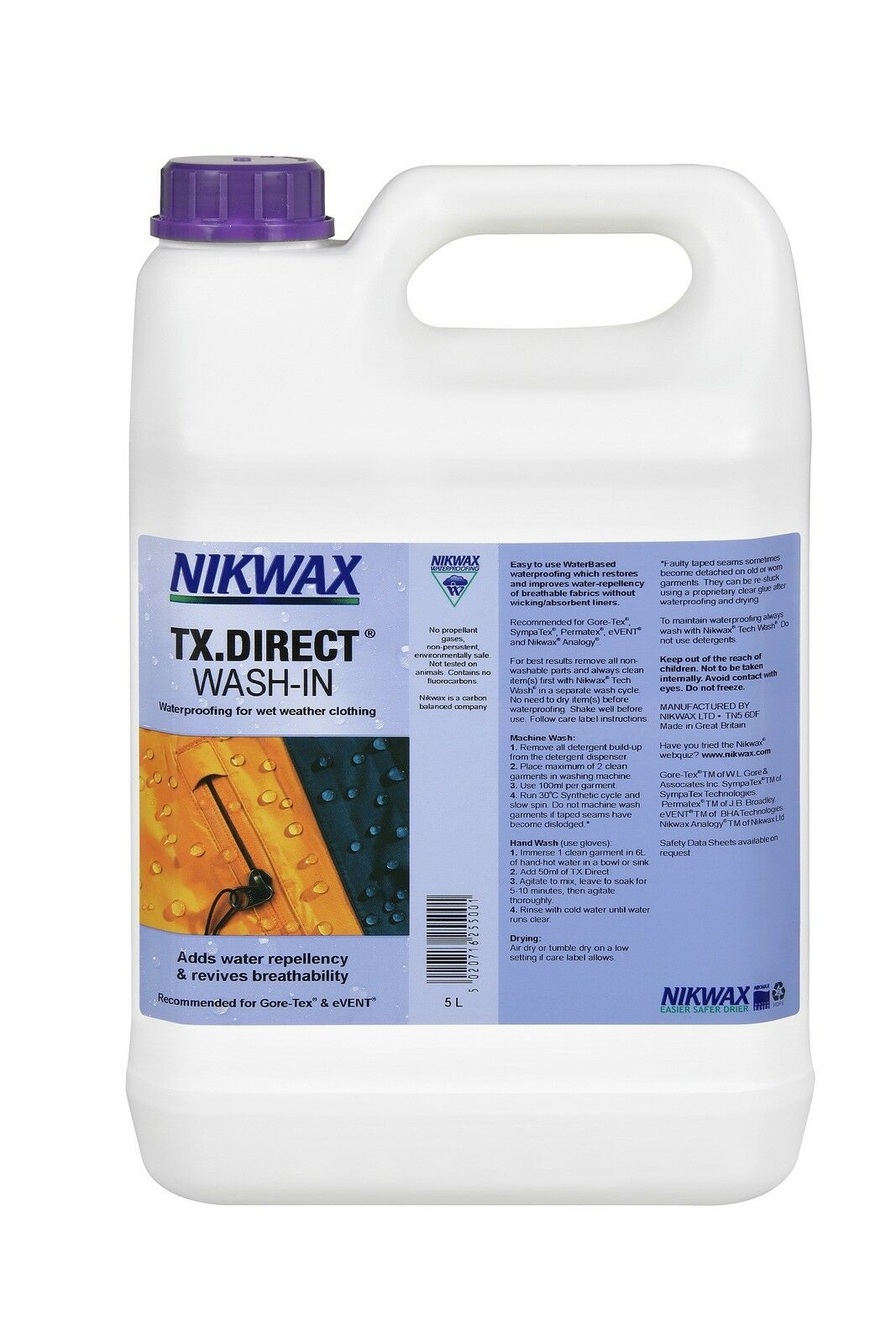 Nikwax TX Direct Wash En 5 Litros Impermeabilizante para Clima Húmedo Exterior