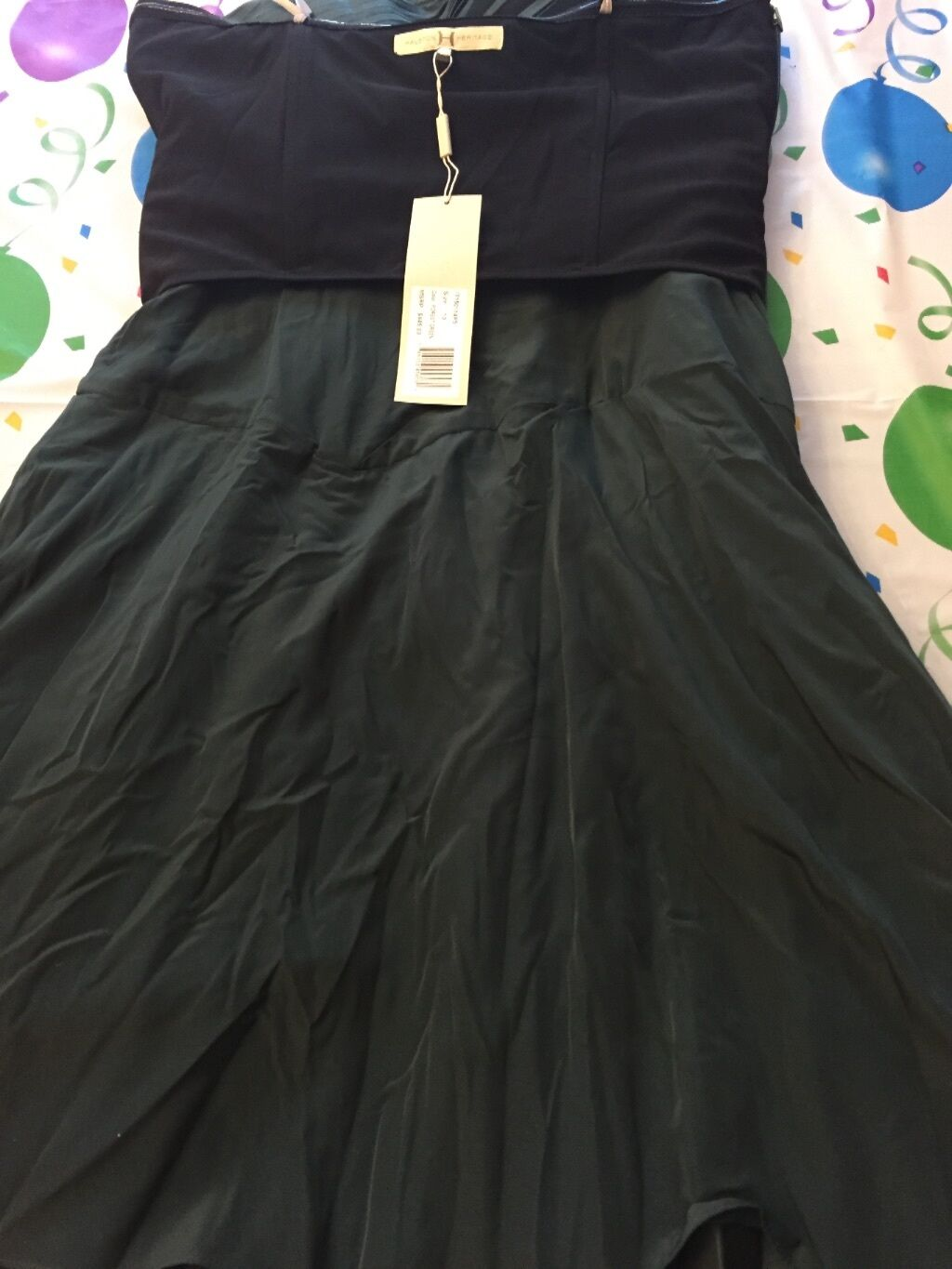 Halston Heritage Forest Forest Forest Green Strapless Pleated Dress 03abe6