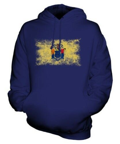 NEW JERSEY STATE DISTRESSED FLAG UNISEX HOODIE TOP NEW JERSEYAN JERSEY